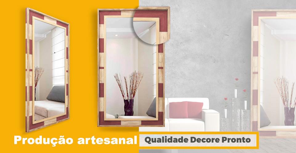Espelho Moldura Patinada Branco e Vermelho