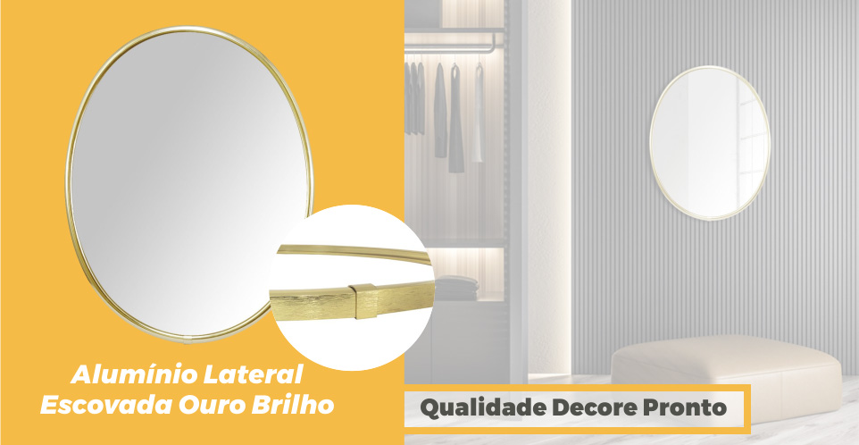 Espelho Oval Moldura Aluminio Ouro Brilho