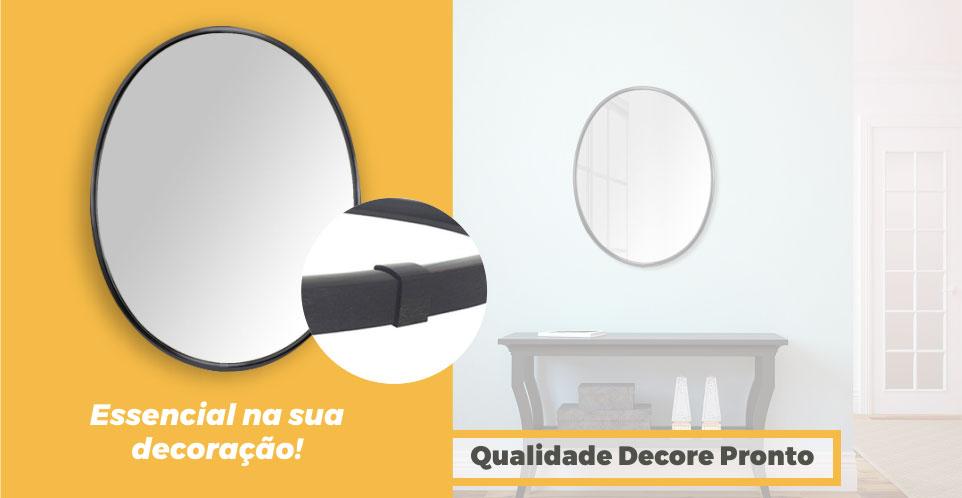 Espelho Moldura Aluminio Preto