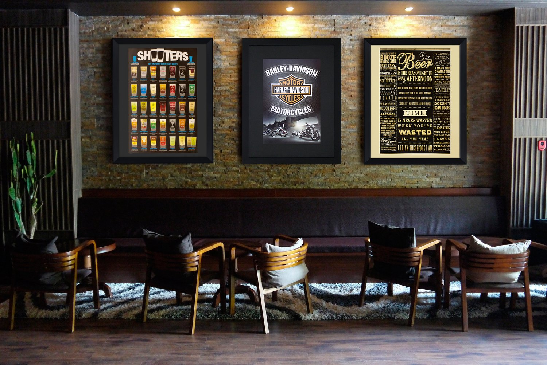 Quadro Decorativo Grande com Moldura Preta Shots de Bebidas 90x110cm