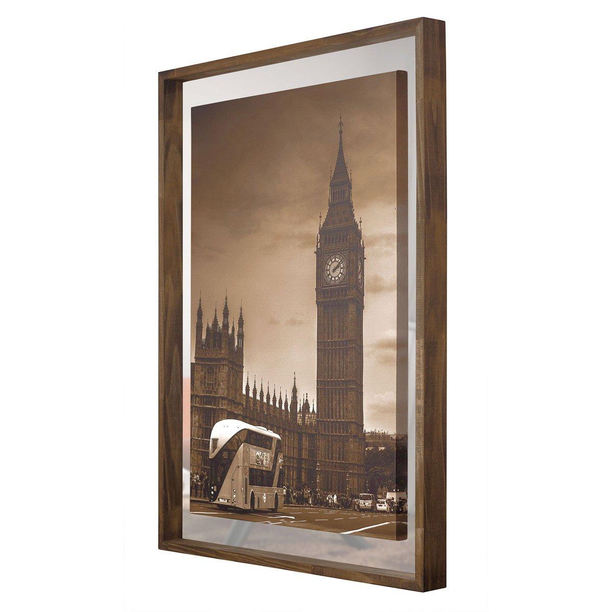 Quadro em Tela Londres Com Espelho e Moldura Rústica 80x110cm