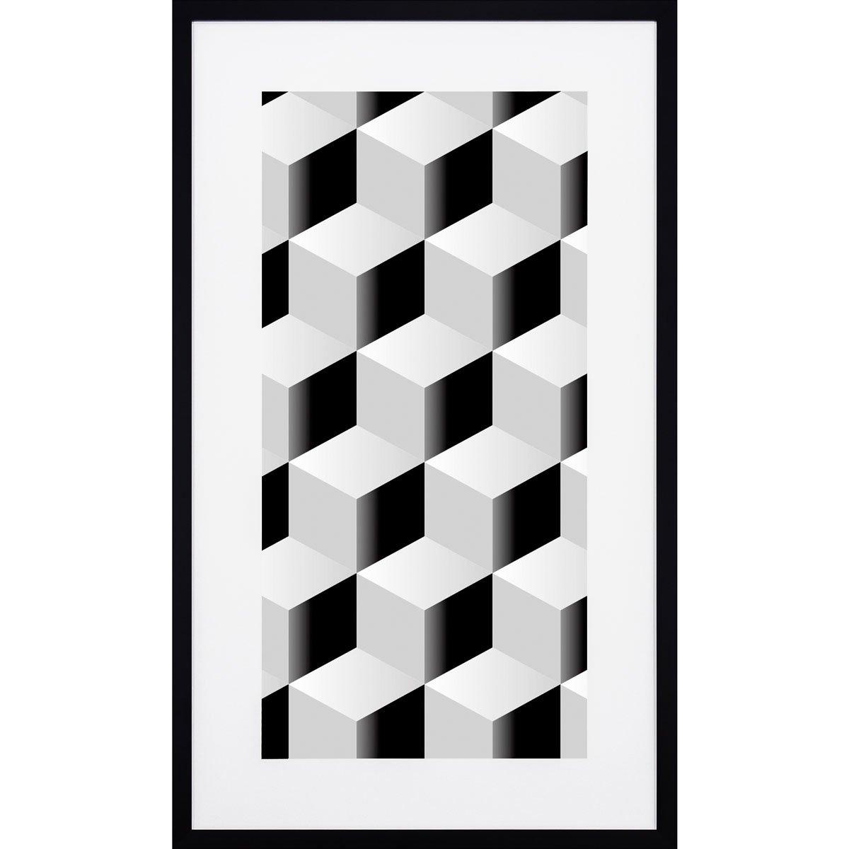 Quadro Com Moldura Preta Desenho Geometrico Quadrados Em Preto E