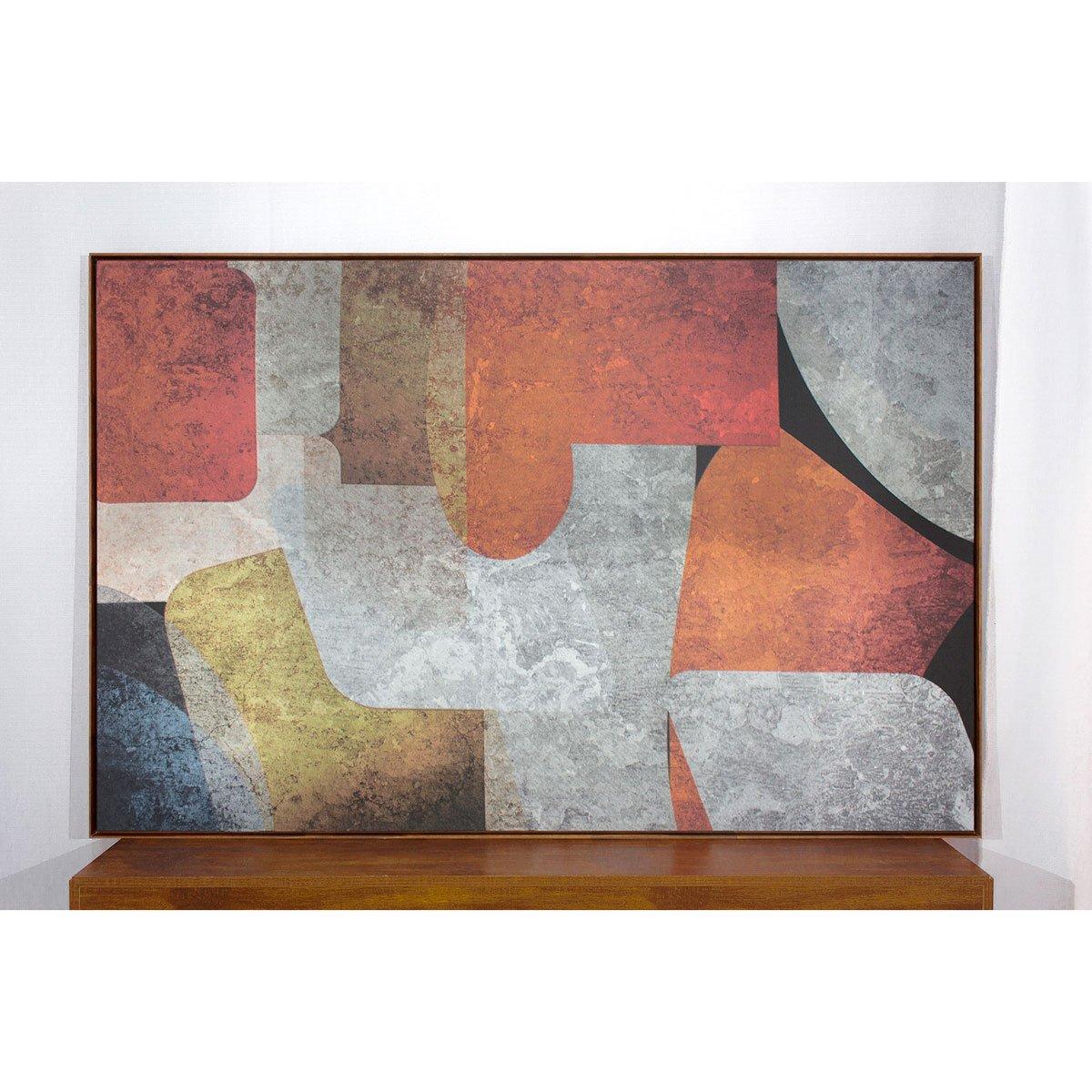 Quadro Tela Abstrata Colorida Com Moldura Na Cor Mel 170x110cm