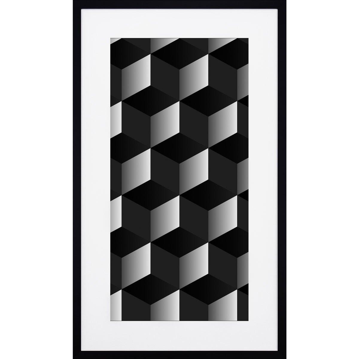 Quadro Desenho Geometrico Quadrados Em Preto E Branco Com Moldura
