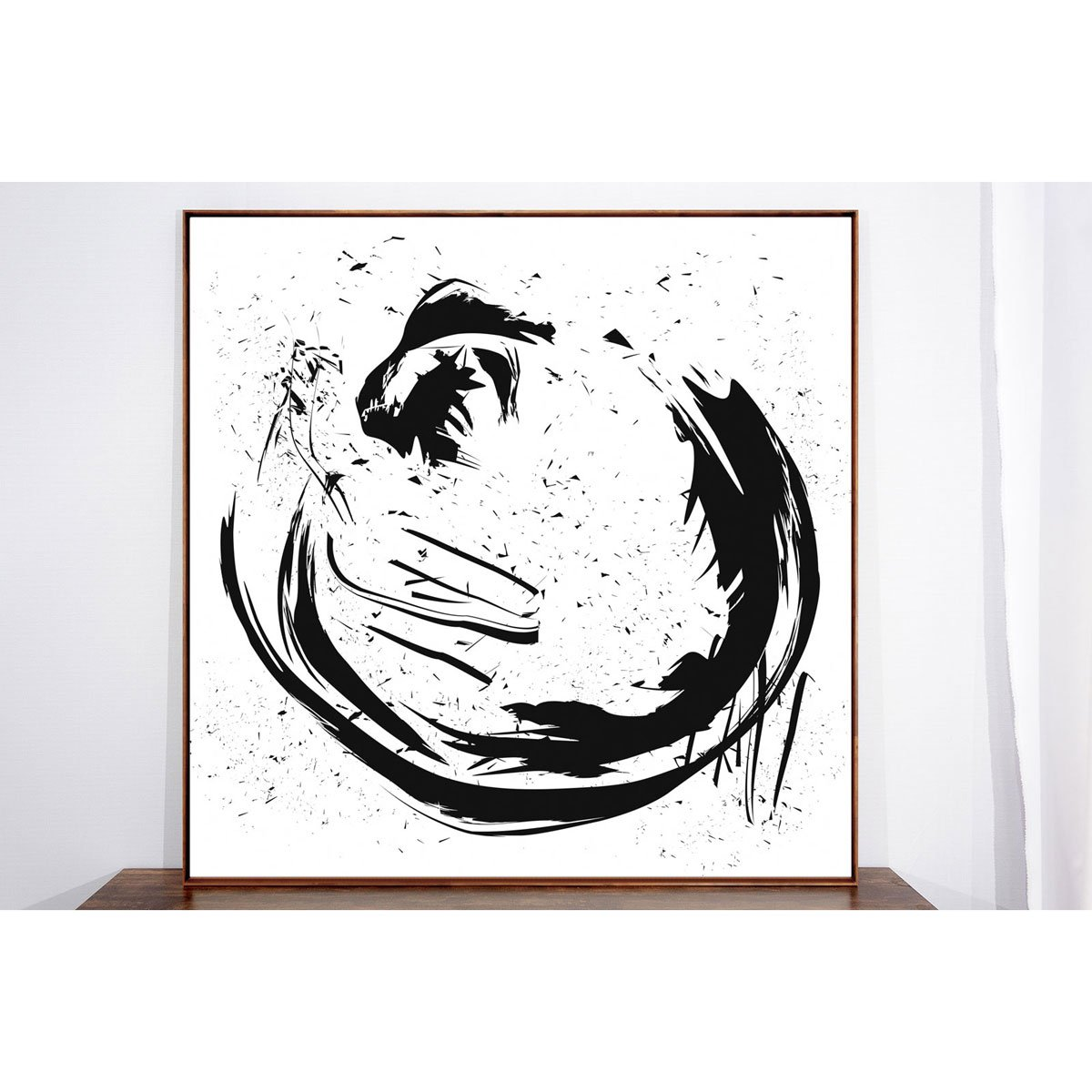 Quadro Tela Arte Moderna Abstrata Moldura na Cor Mel 130x130cm