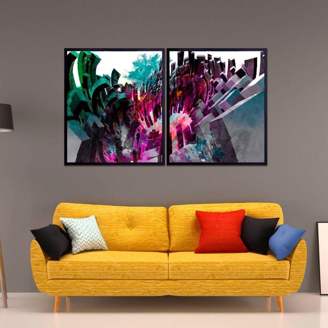 Combo de quadros, arte moderna colorida.