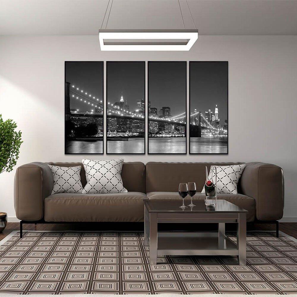 Conjunto de quadros em preto e branco Ponte do Brooklyn.