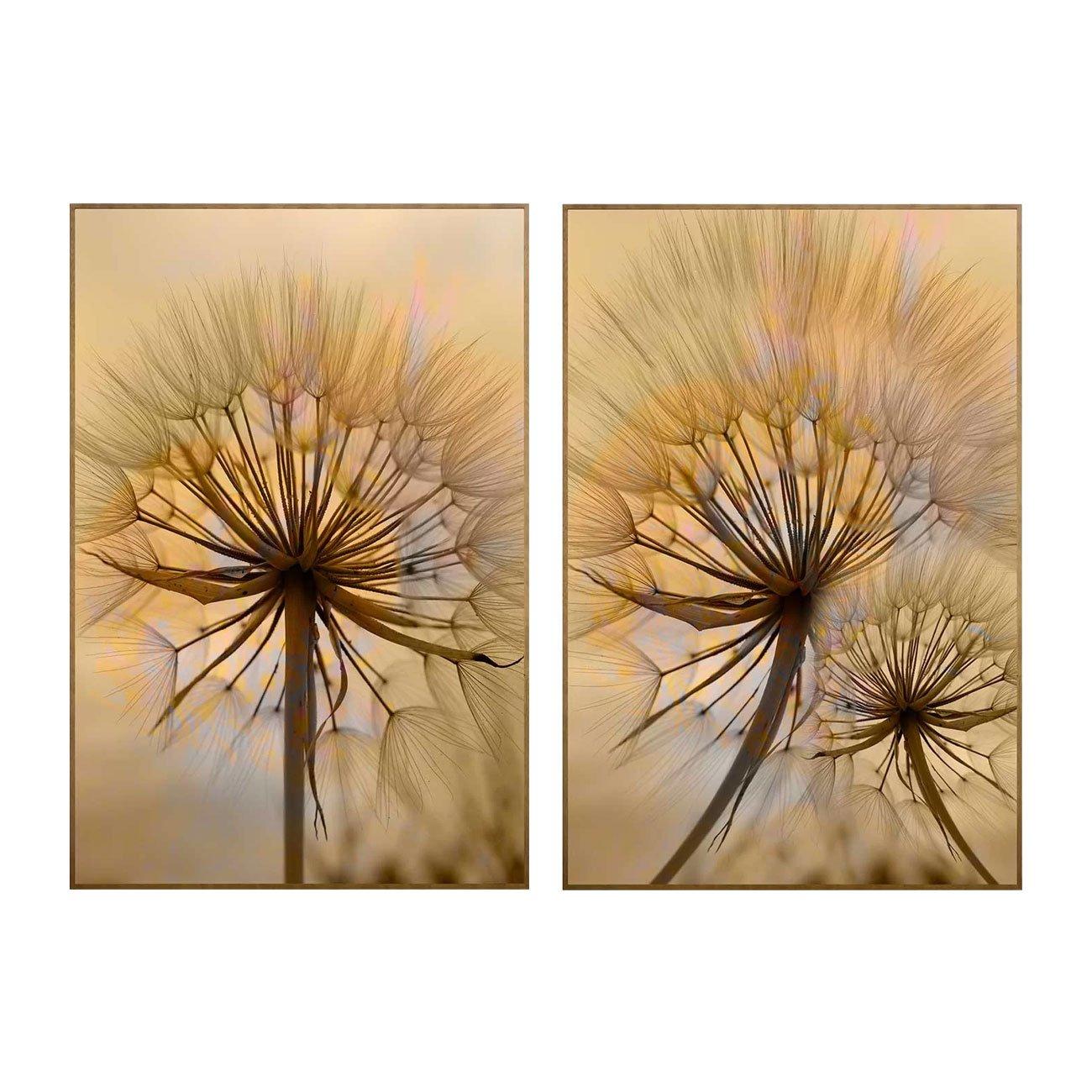 Conjunto de Quadros Flor Dente de Leão Kit com 2 Quadros de 100x150 cm