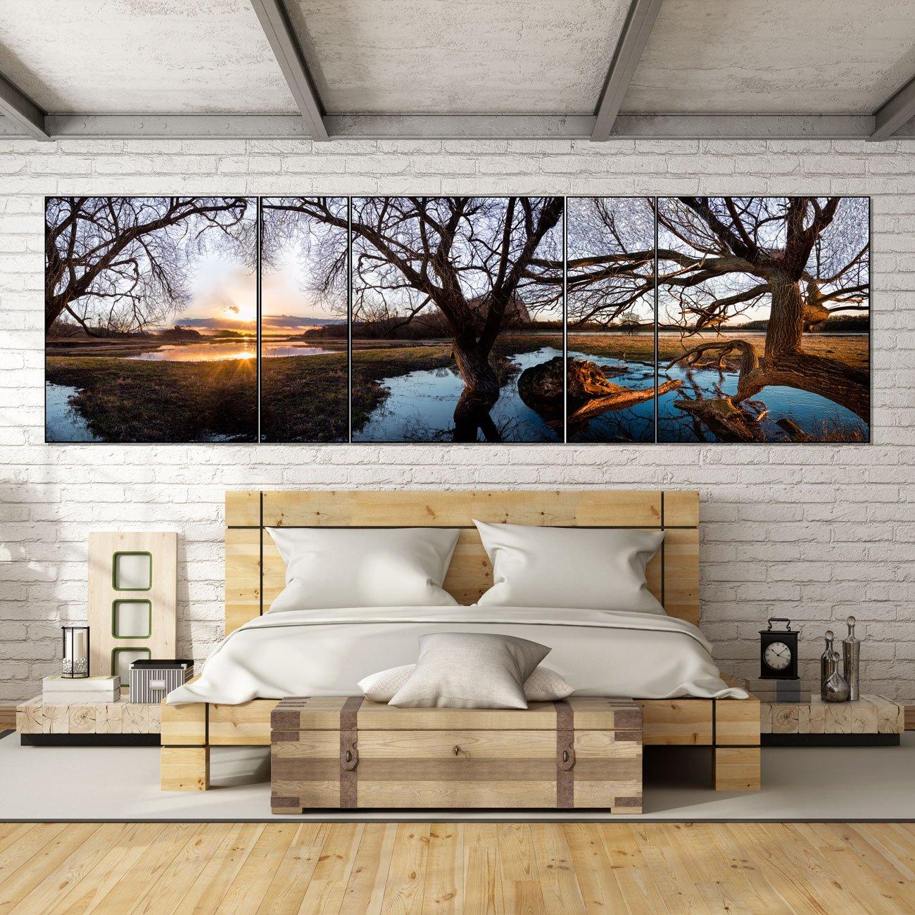 Conjunto de Quadros Grandes com Vidro Kit com 5 Quadros 500x150cm