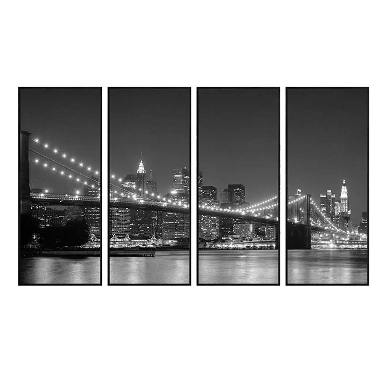 Conjunto de Quadros Nova York Ponte Brooklyn Kit 4 Quadros de 47x113cm