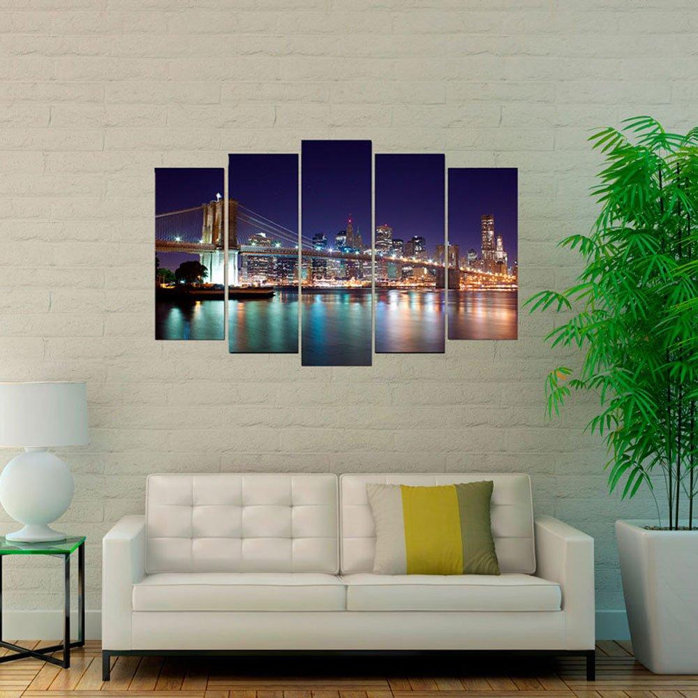 d11634d1477 Conjunto de Quadros Telas Decorativas Ponte Brooklyn Kit com 5 Quadros ...
