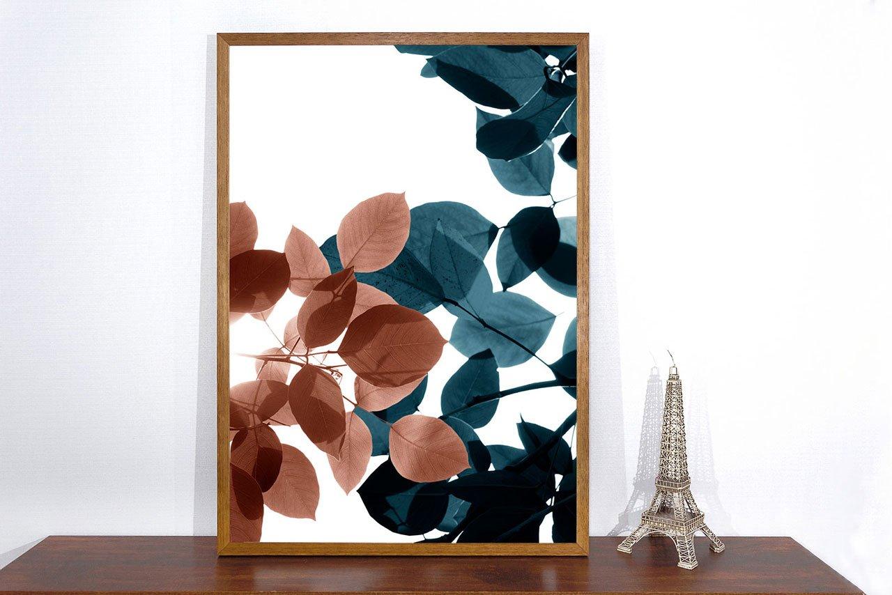 Quadro Decorativo de Folhas Azuis e Marrons 70x100 cm