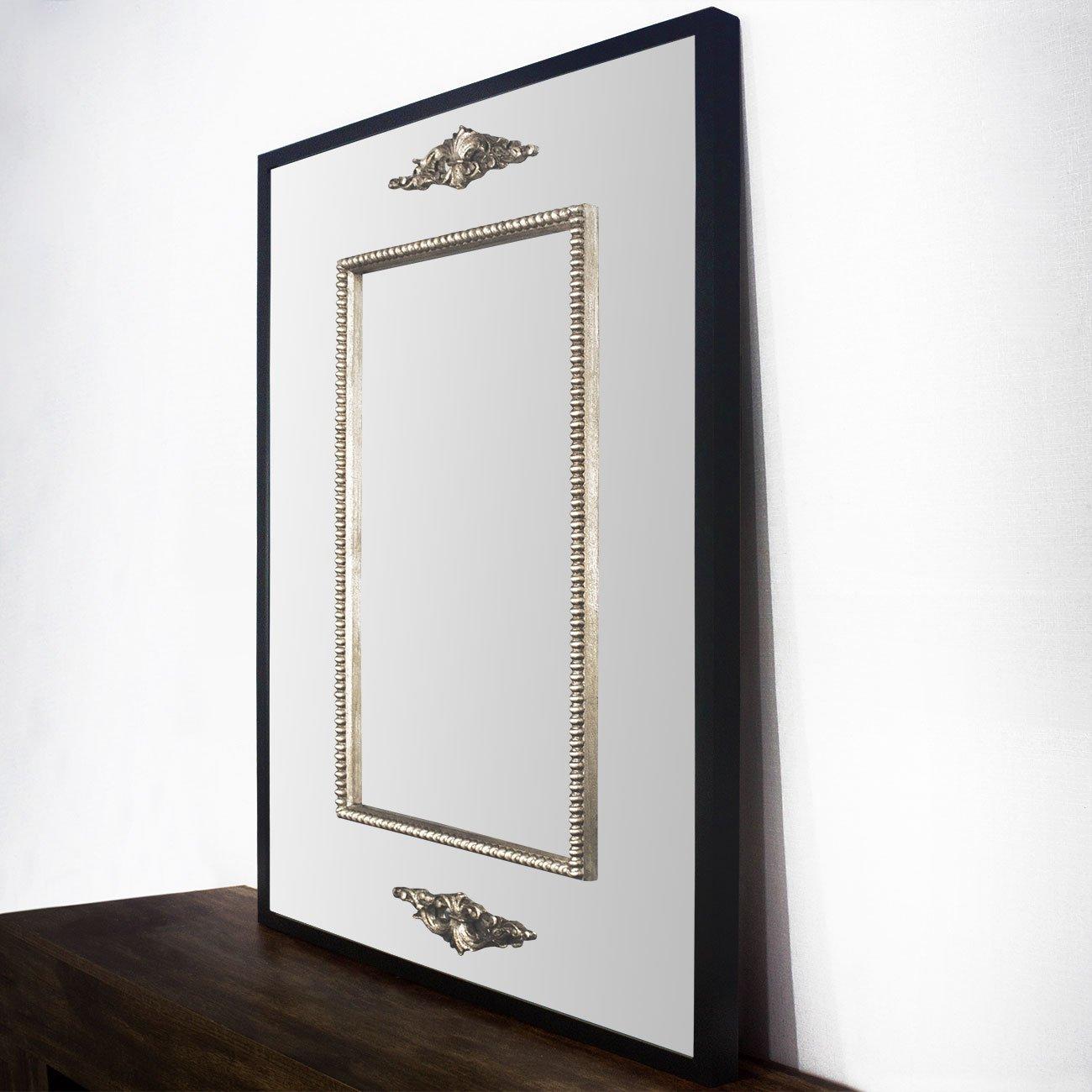 Espelho Clássico com Moldura Preta e Apliques Folheados em Prata