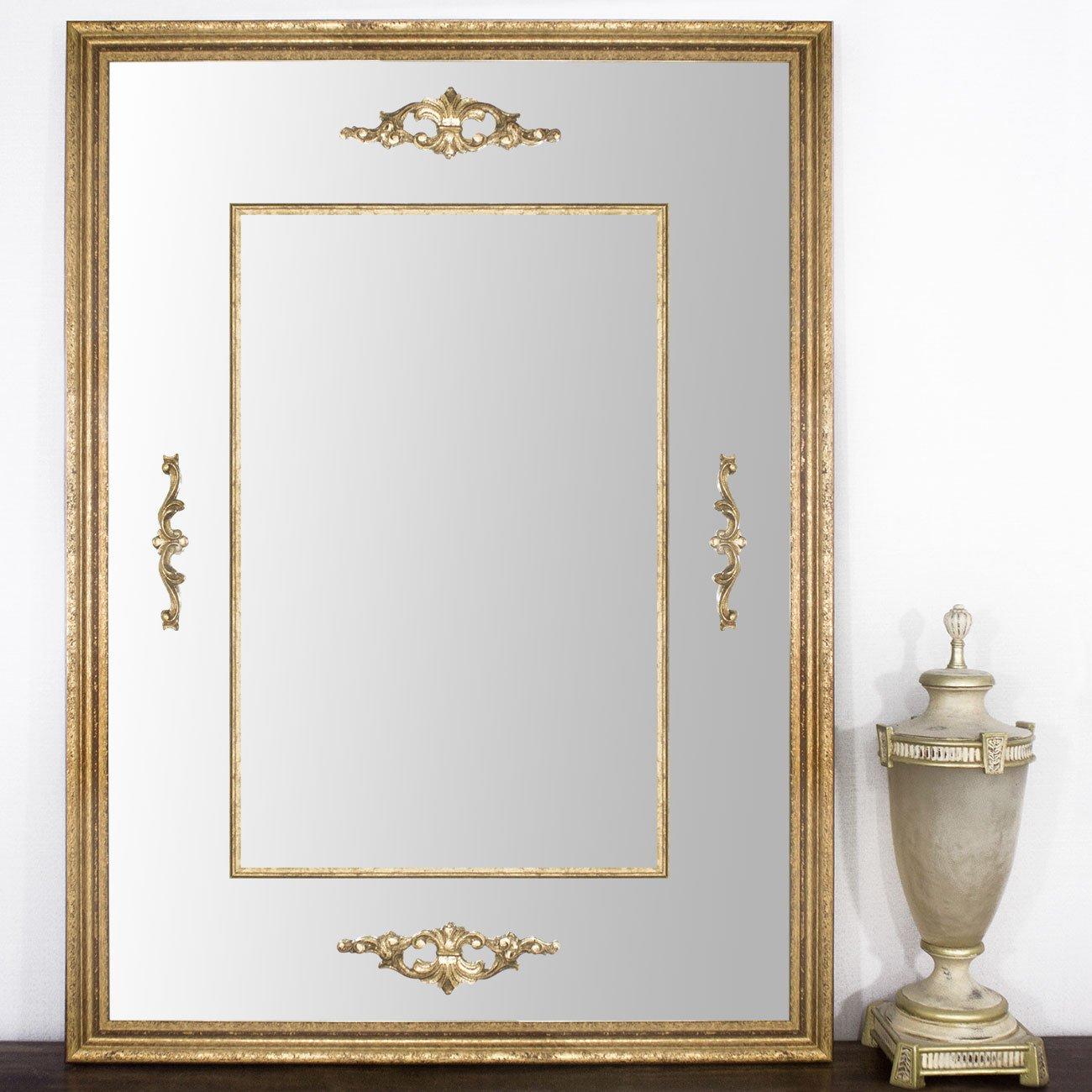 Espelho Clássico Decorativo com Apliques Dourados Folheados