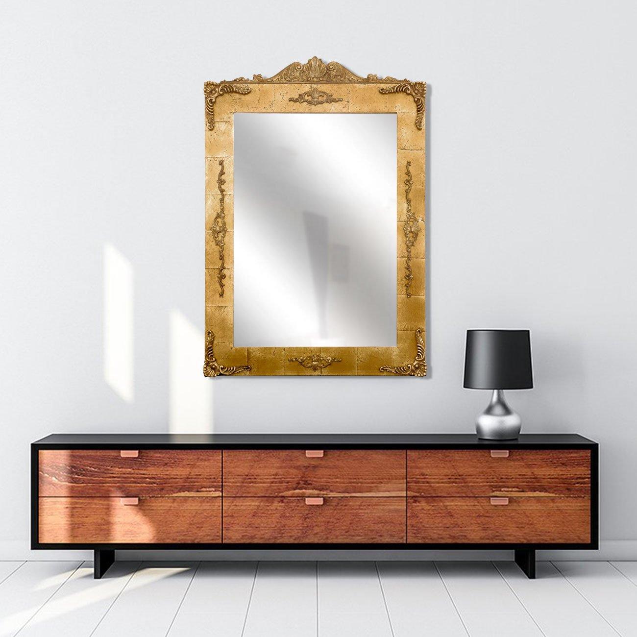 Espelho com Moldura em Folha de Ouro e Adornos 90x130cm