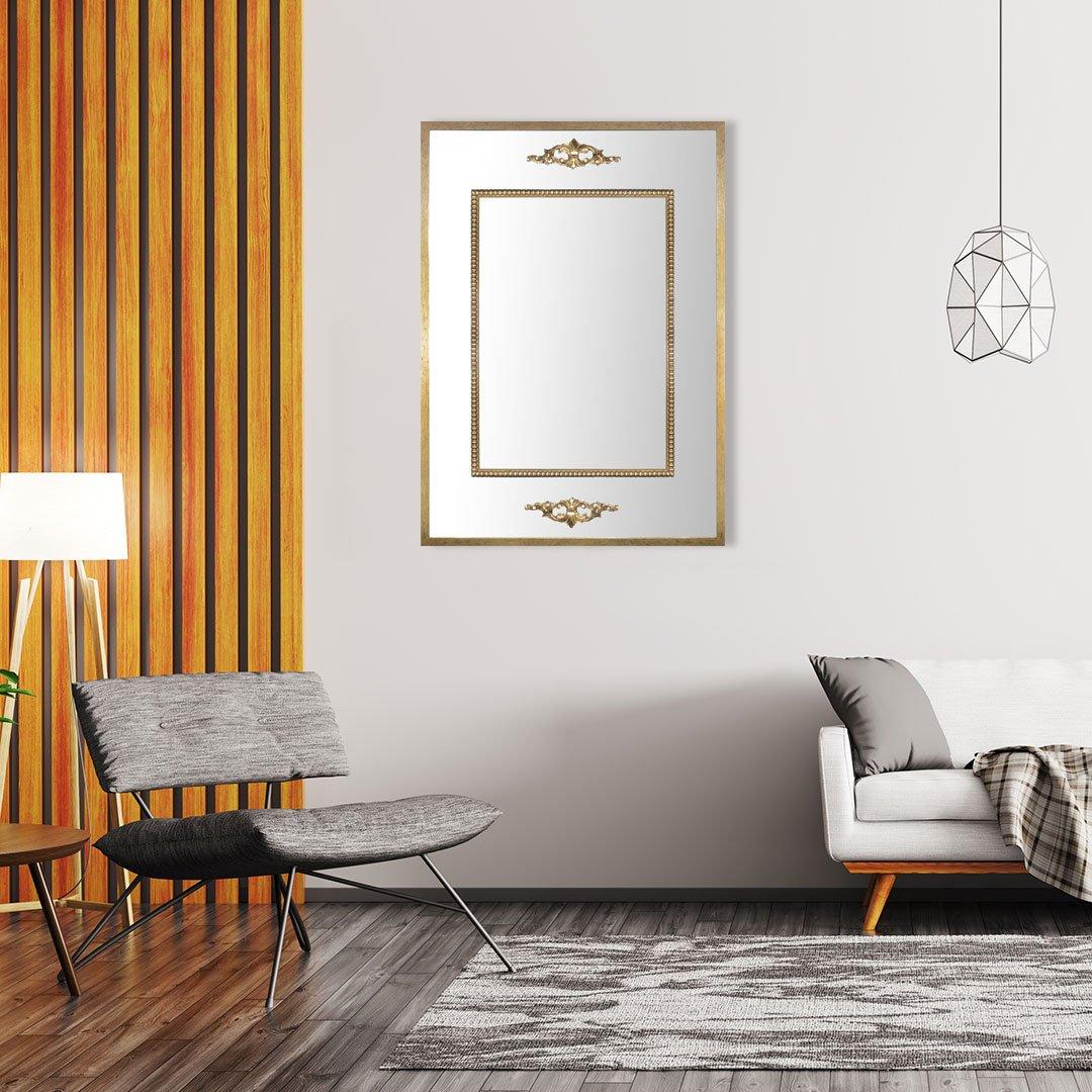 Espelho Decorativo Clássico com Moldura e Apliques Dourados