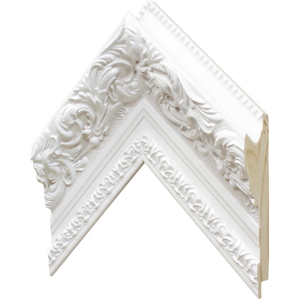 Espelho Cristal Decorativo Branco com Moldura Retrô Plus