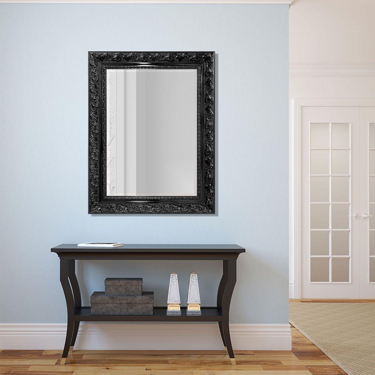 Espelho Cristal Decorativo Preto Moldura Retrô Plus