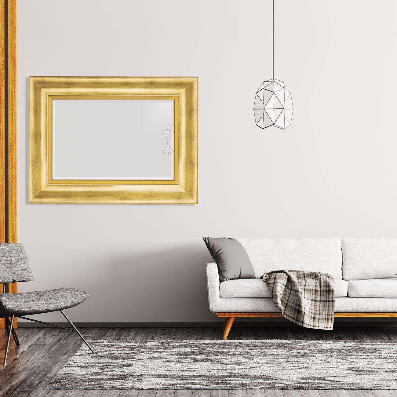 Espelho Decorativo Cristal com Moldura Grande Dourada