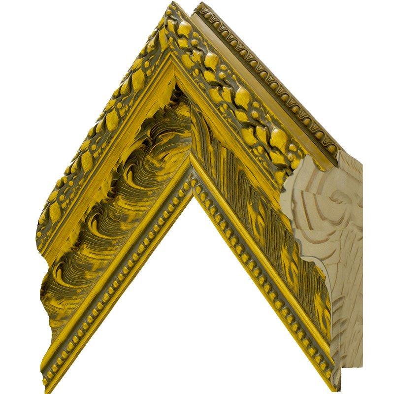 Espelho Decor Cristal Dourado com Moldura Gravada de Madeira