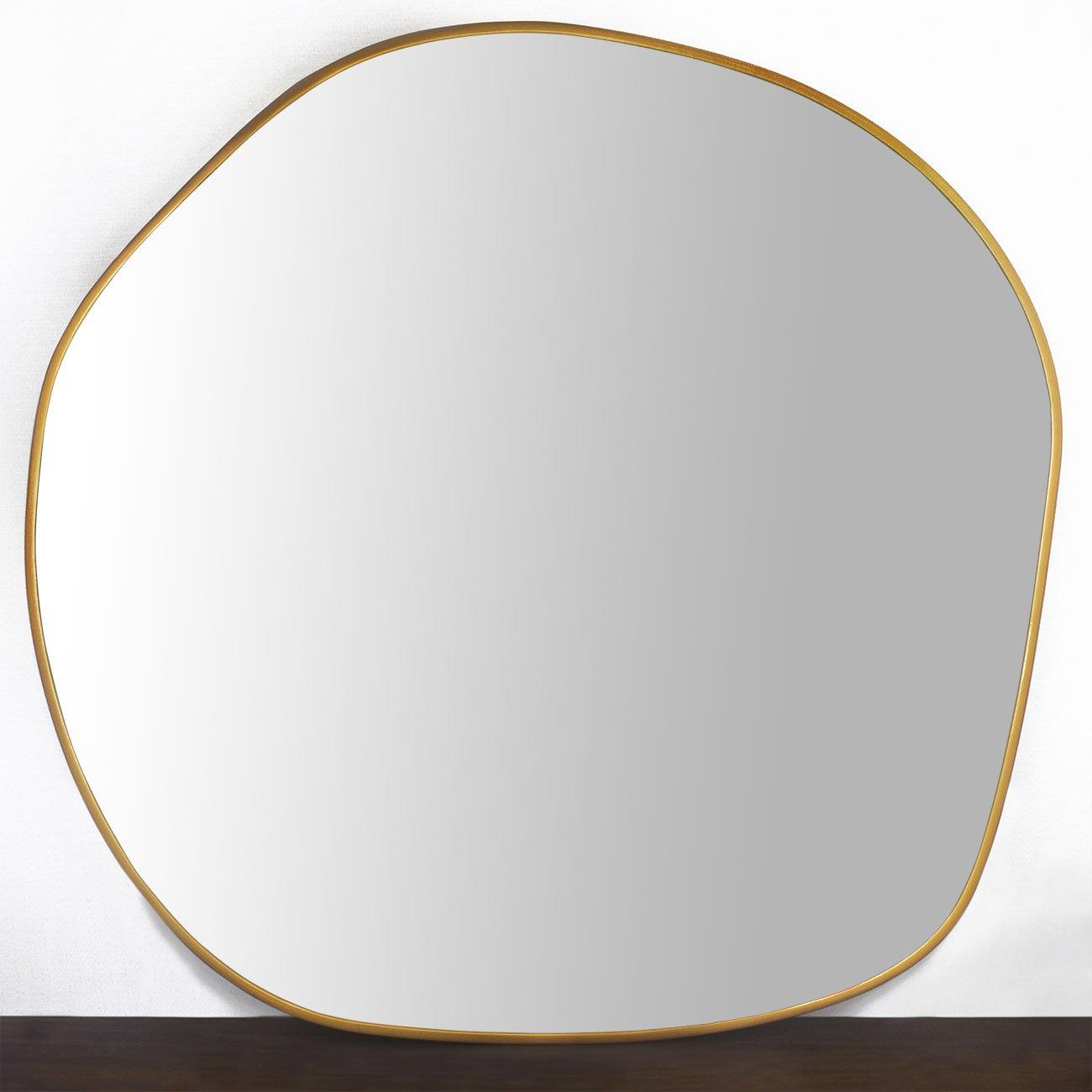 Espelho Decorativo Orgânico Com Moldura em MDF Cor Dourado