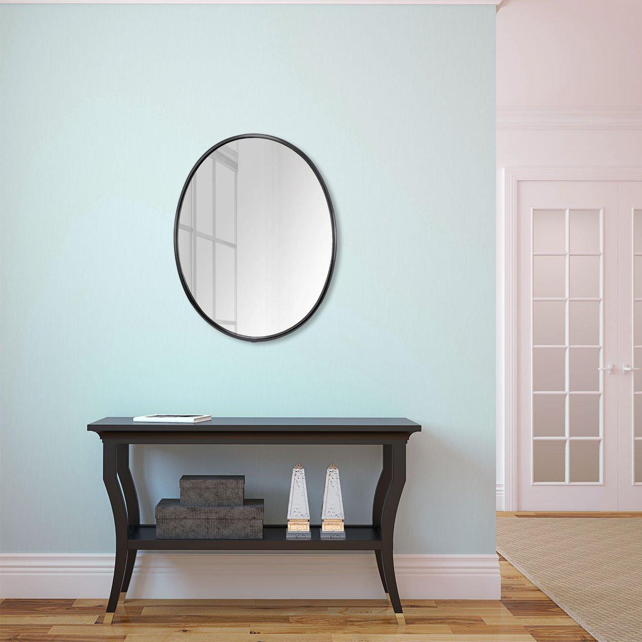 Espelho Decorativo Oval com Moldura de Alumínio Preto Brilho