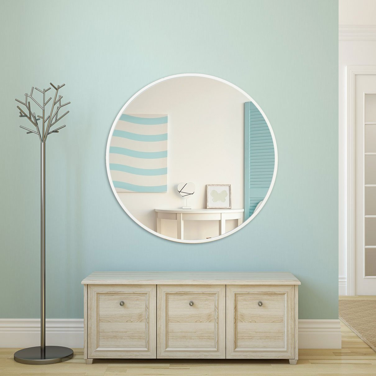 Espelho Decorativo Redondo com Moldura Branca