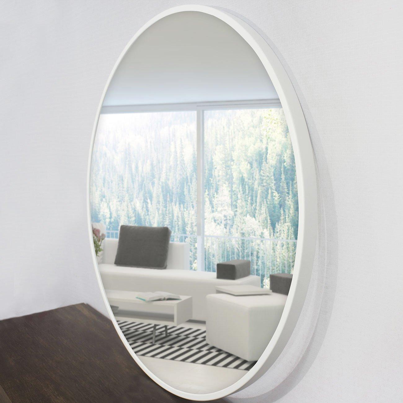 Espelho redondo, foto com detalhes da lateral da moldura.