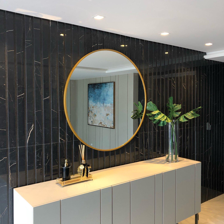 Espelho Decorativo Redondo Com Moldura em MDF Cor Dourado