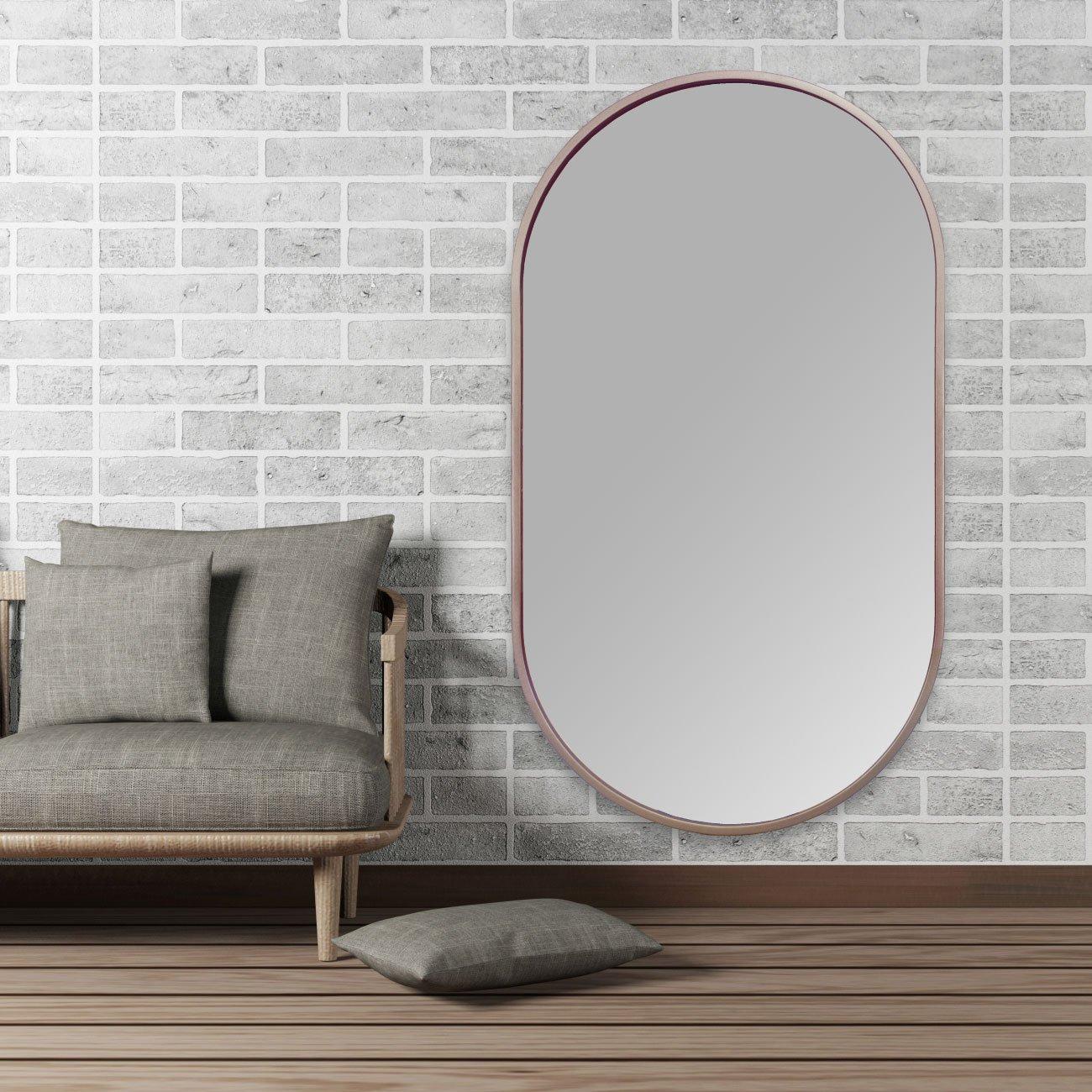 Espelho Decorativo Retangular Arredondado com Moldura Cobre