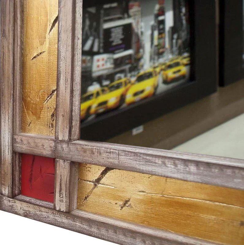 Espelho Decorativo Retangular Rústico com Moldura Colorida