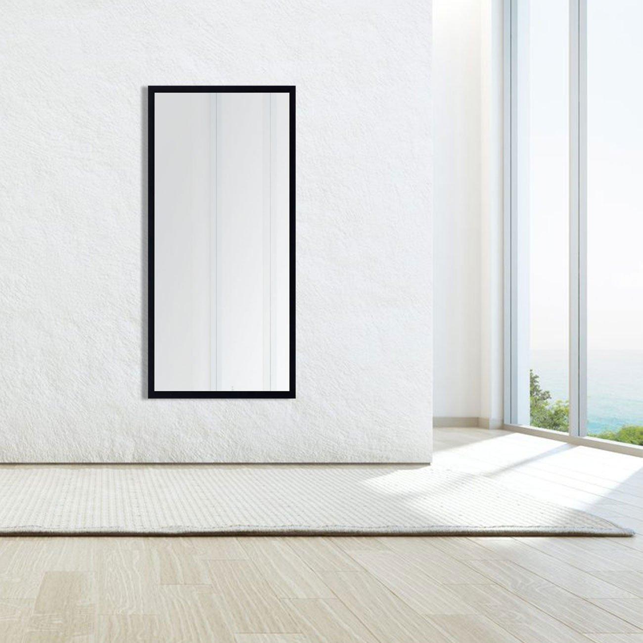Espelho Moderno Decorativo com Moldura Preta sem Bisotê 60x130cm
