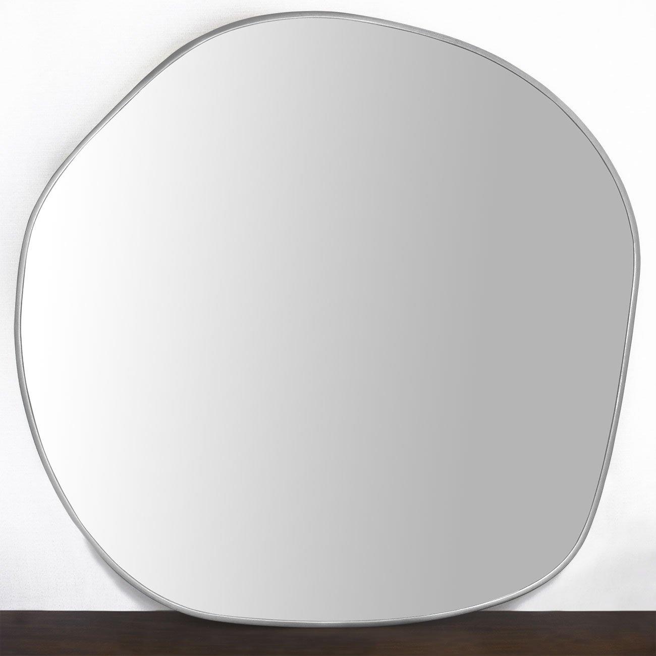 Espelho Orgânico Decorativo com Moldura em MDF Cor Prata