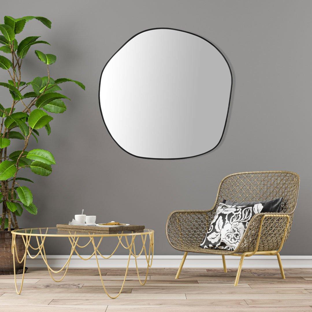 Espelho Orgânico Decorativo com Moldura em MDF Cor Preta
