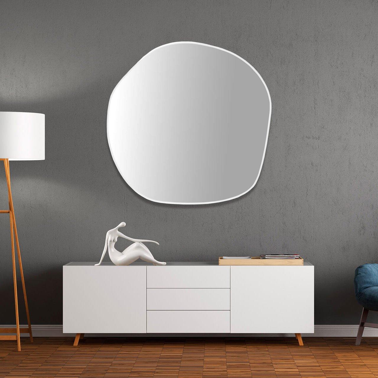 Espelho Orgânico Moderno com Moldura em MDF Cor Branca