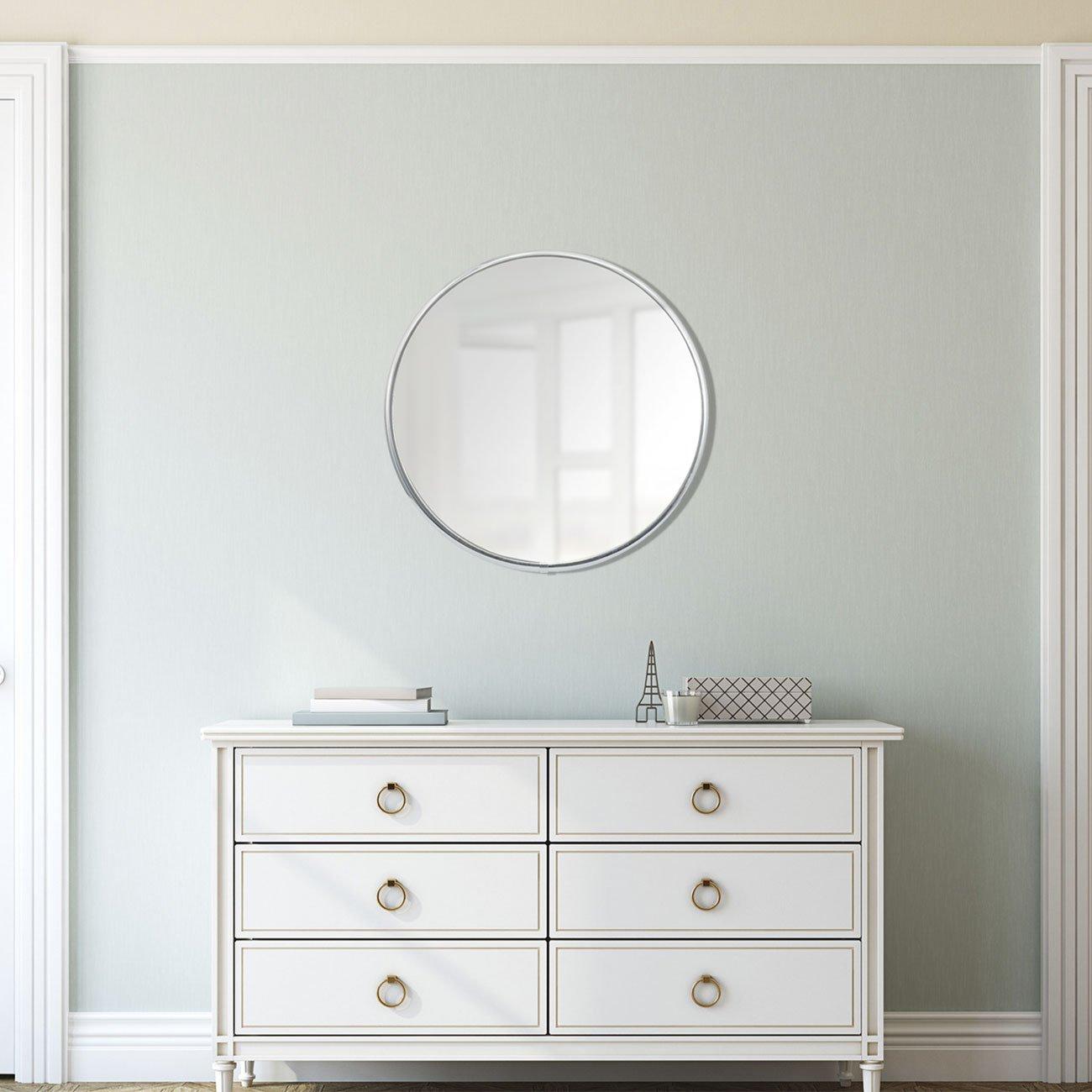 Espelho Redondo com Moldura Alumínio Incolor Brilho