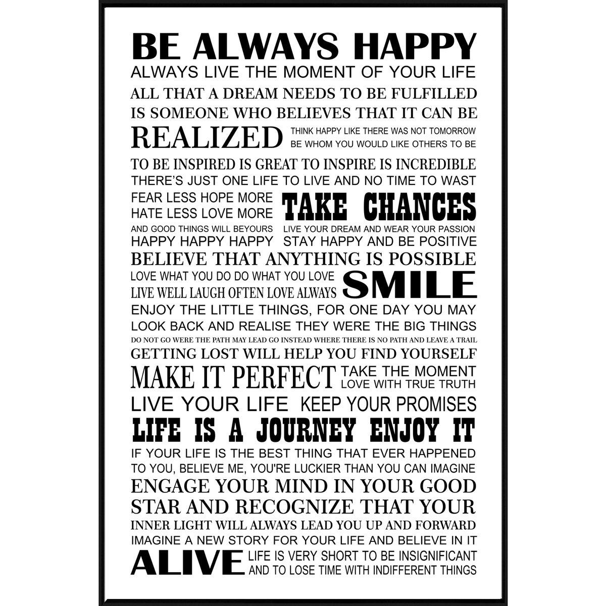 Quadro Canvas Com Moldura Preta Frase Motivacional Seja Sempre Feliz 80x120cm