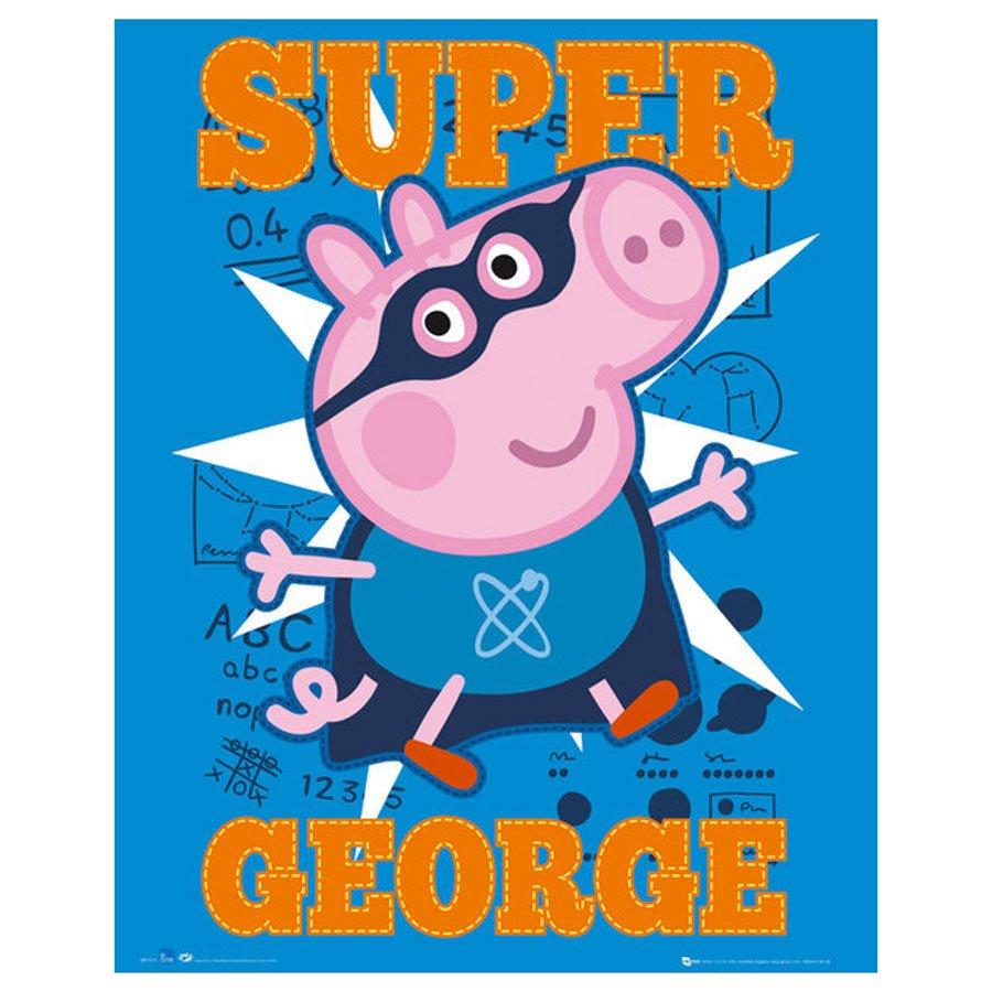 Gravura Para Quadros Super George Personagem Do Desenho Peppa Pig