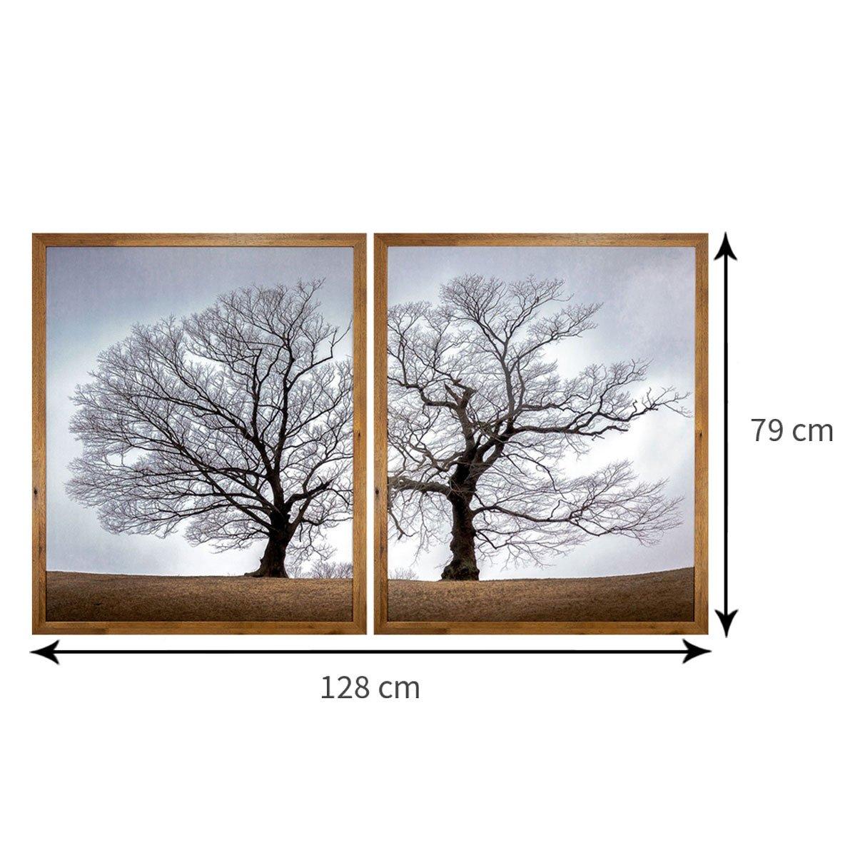 Kit 2 Quadros com Moldura Rústica Árvore Seca de Outono 130x80 cm