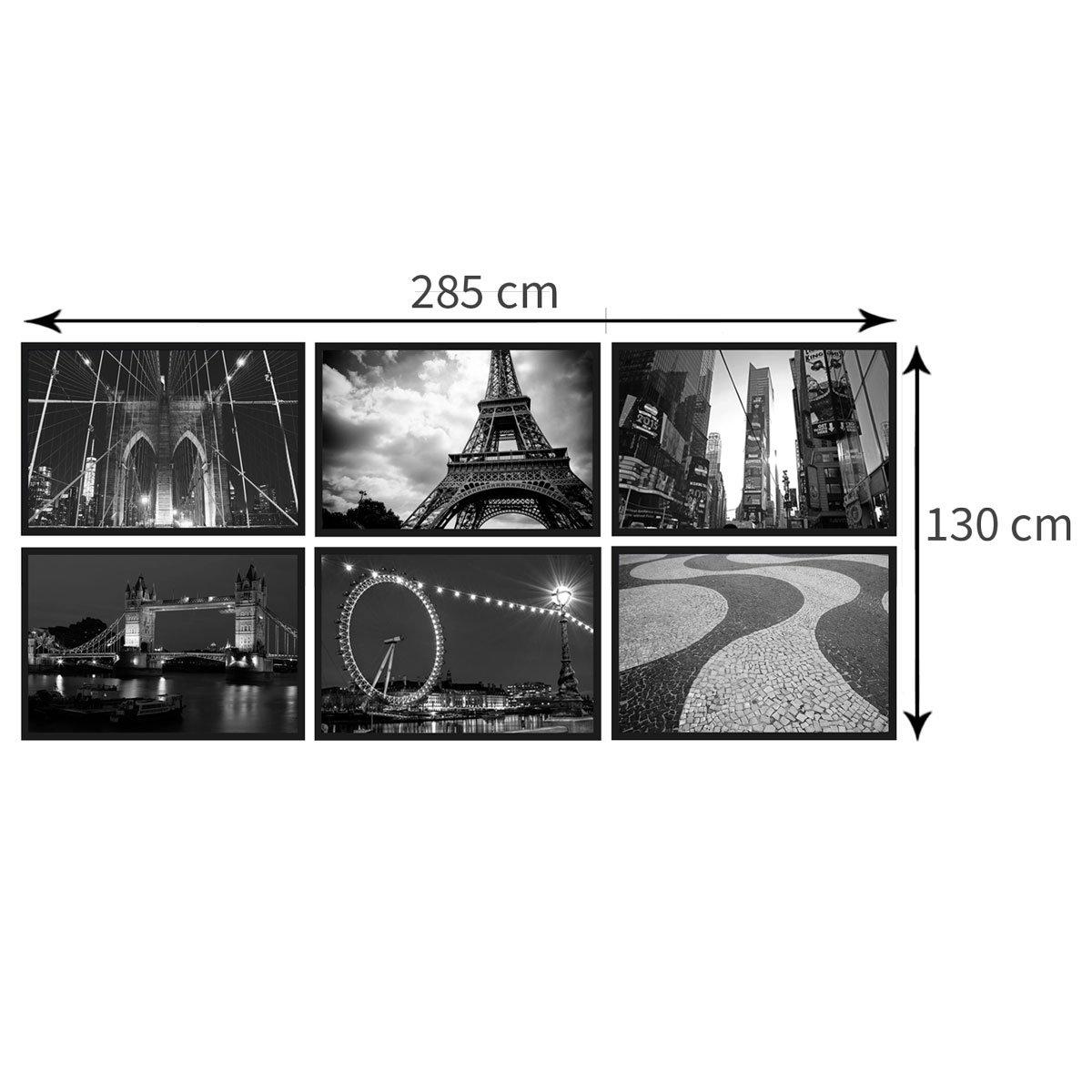 Tamanho aproximado do kit (Largura x Altura): 285 x 130 cm. Cada quadro tem o tamanho de (Largura x Altura): 94x64 cm. O tamanho pode variar conforme disposição que você optar pelos quadros.