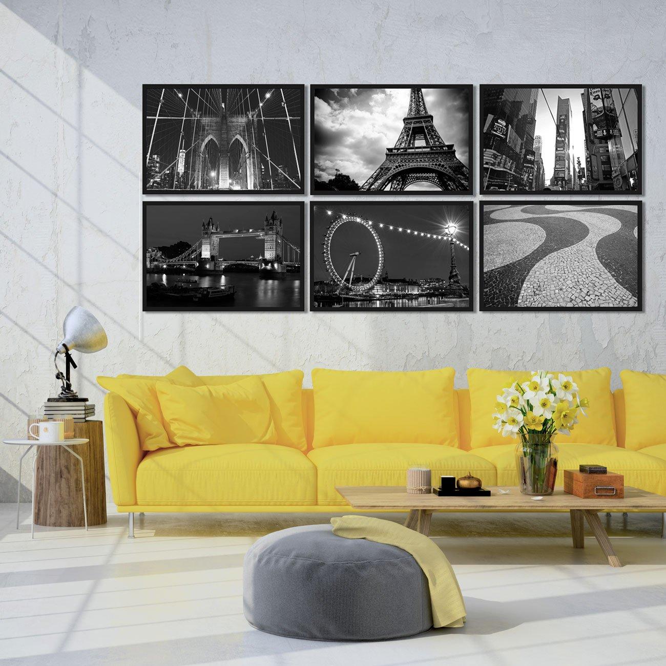 Exemplo de decoração - Combo Kit de quadros decorativos 6 peças em preto e branco. Cidades Turísticas.