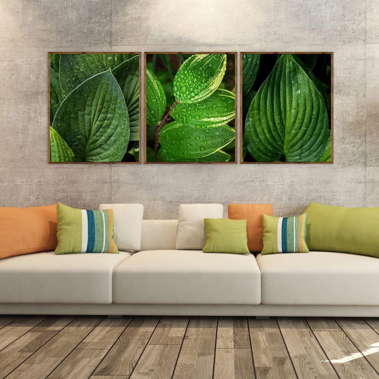 Conjunto de quadros decorativos folhagens verdes 3 peças.