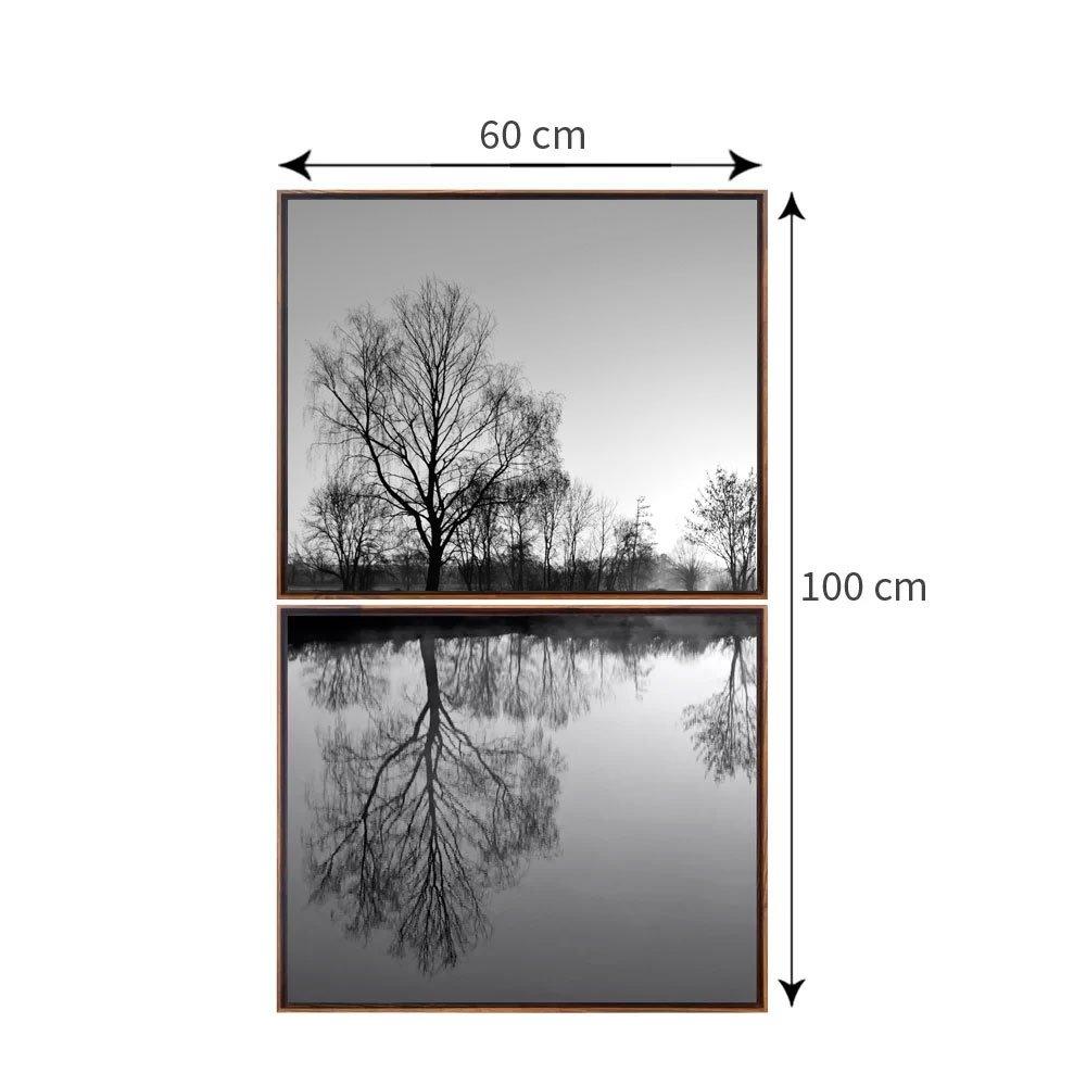 Kit 2 Telas Lago Reflexo com Molduras 60x100 cm Preto e Branco