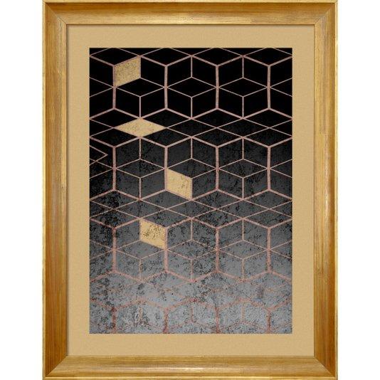 Quadro Abstrato Decor Geométrico Preto e Dourado 70x90cm