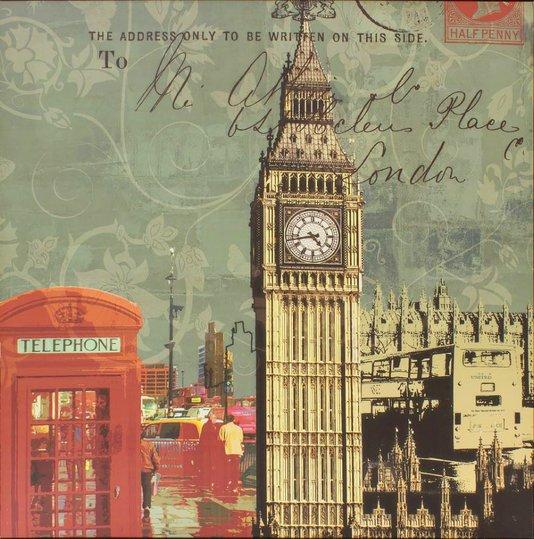Quadro Tela Impressa Cabine Telefônica Londres e Big Ben 60x60cm