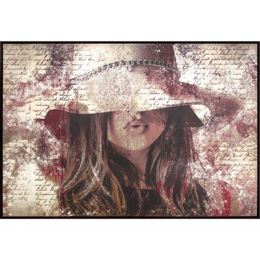 Quadro Tela Arte Moderna Mulher em Fundo Abstrato 150x100cm