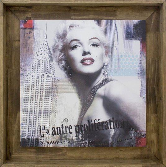 Quadro Tela Decorativa Emoldurada Marilyn Monroe Nova York 80x80cm