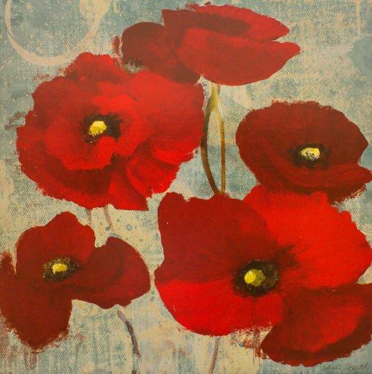Gravura para Quadros Floral Popoulas Vermelhas 61x61cm