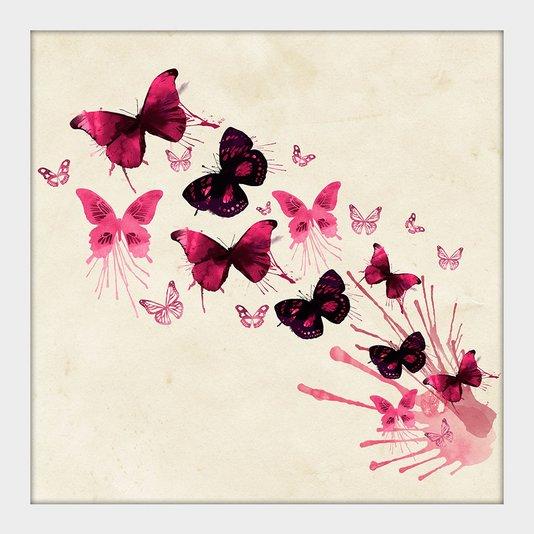 Quadro Decorativo Pequeno Borboletas Rosas Aquarela Moldura Branca