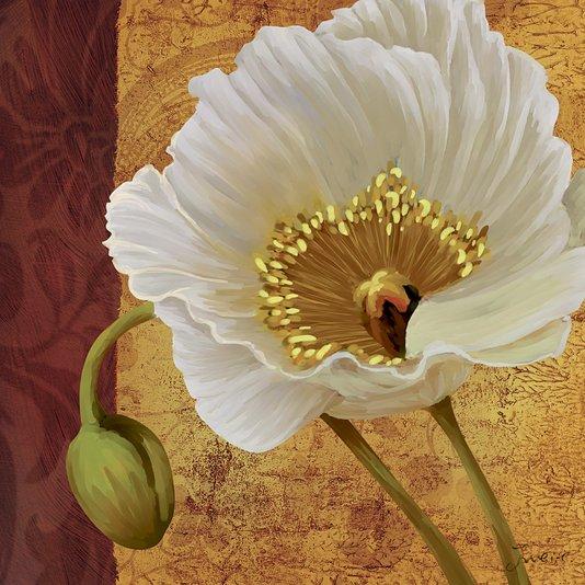 Quadro Tela Decorativa Floral Papoula Branca 60x60cm